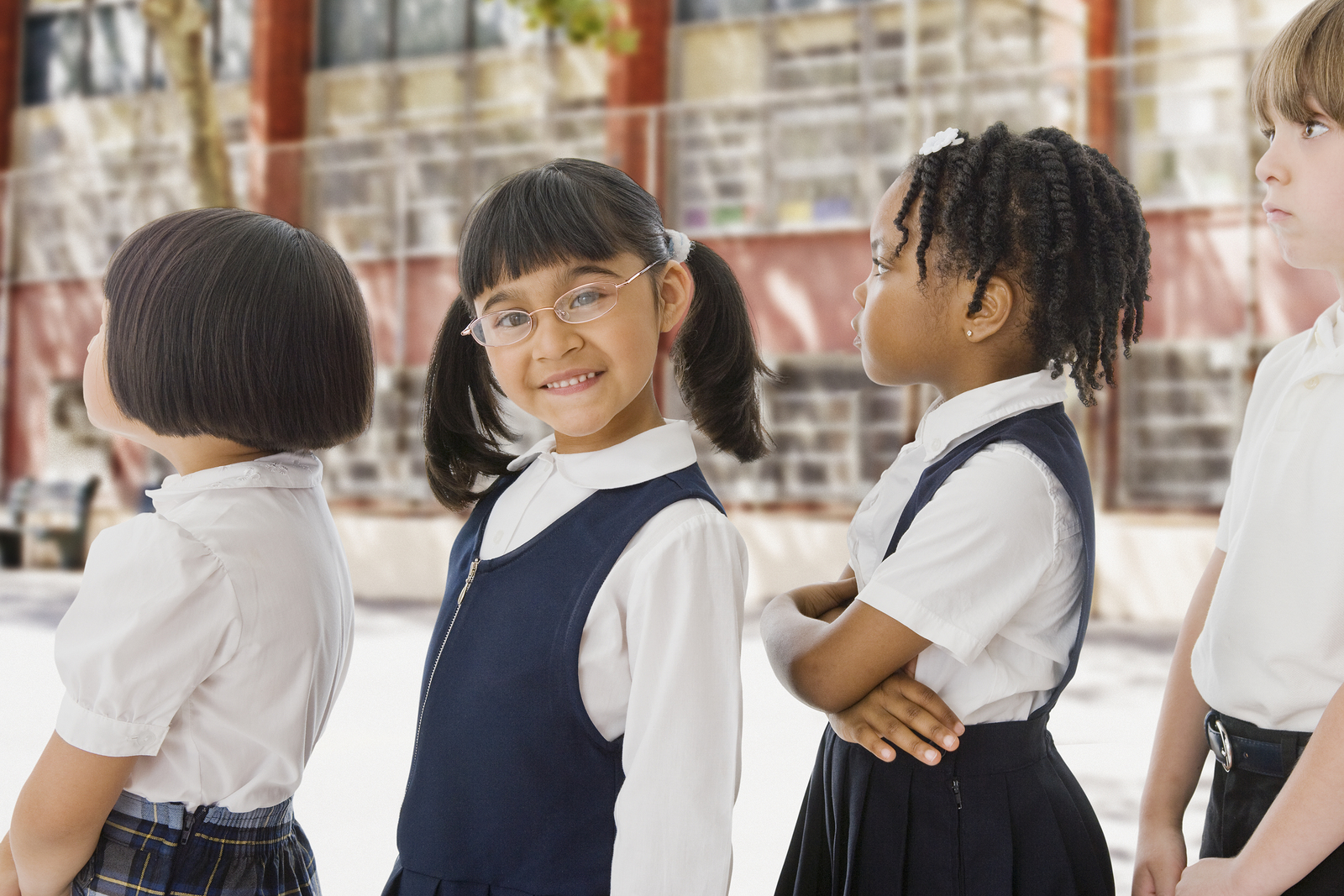 children in school waiting in line
