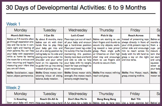 Day Activity Calendars  Play  Developmental Activities